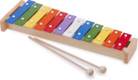 New Classic Toys - Musikinstrument - Metallophon 12 Töne bunt mit 2 Schlegel